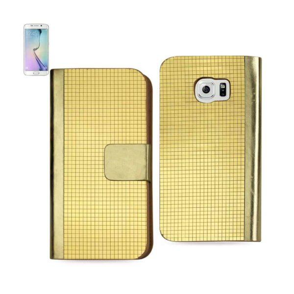 SAMSUNG GALAXY S6 EDGE GOLD CHROME DESIGN WALLET CASE IN GOLD