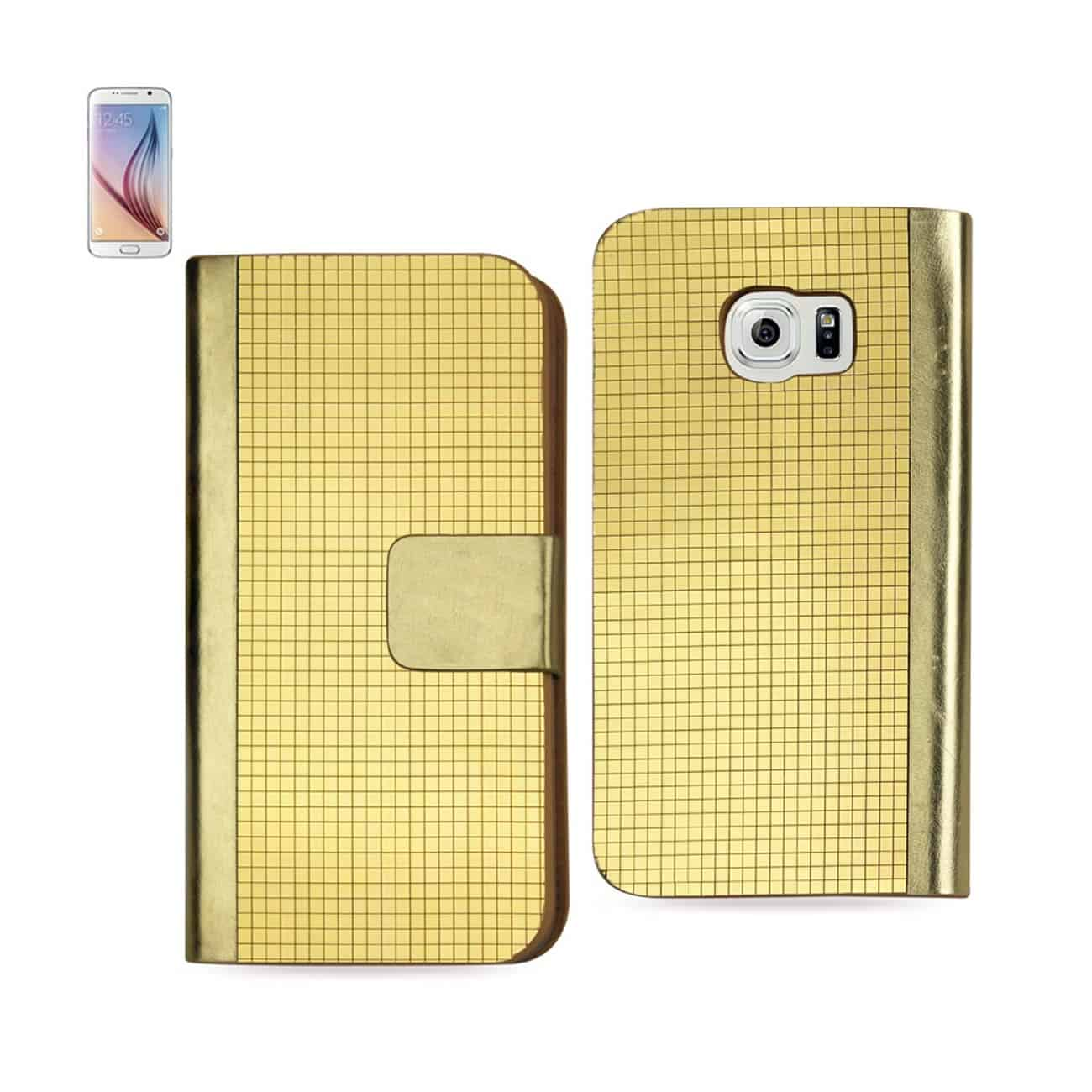SAMSUNG GALAXY S6 GOLD CHROME DESIGN WALLET CASE IN GOLD
