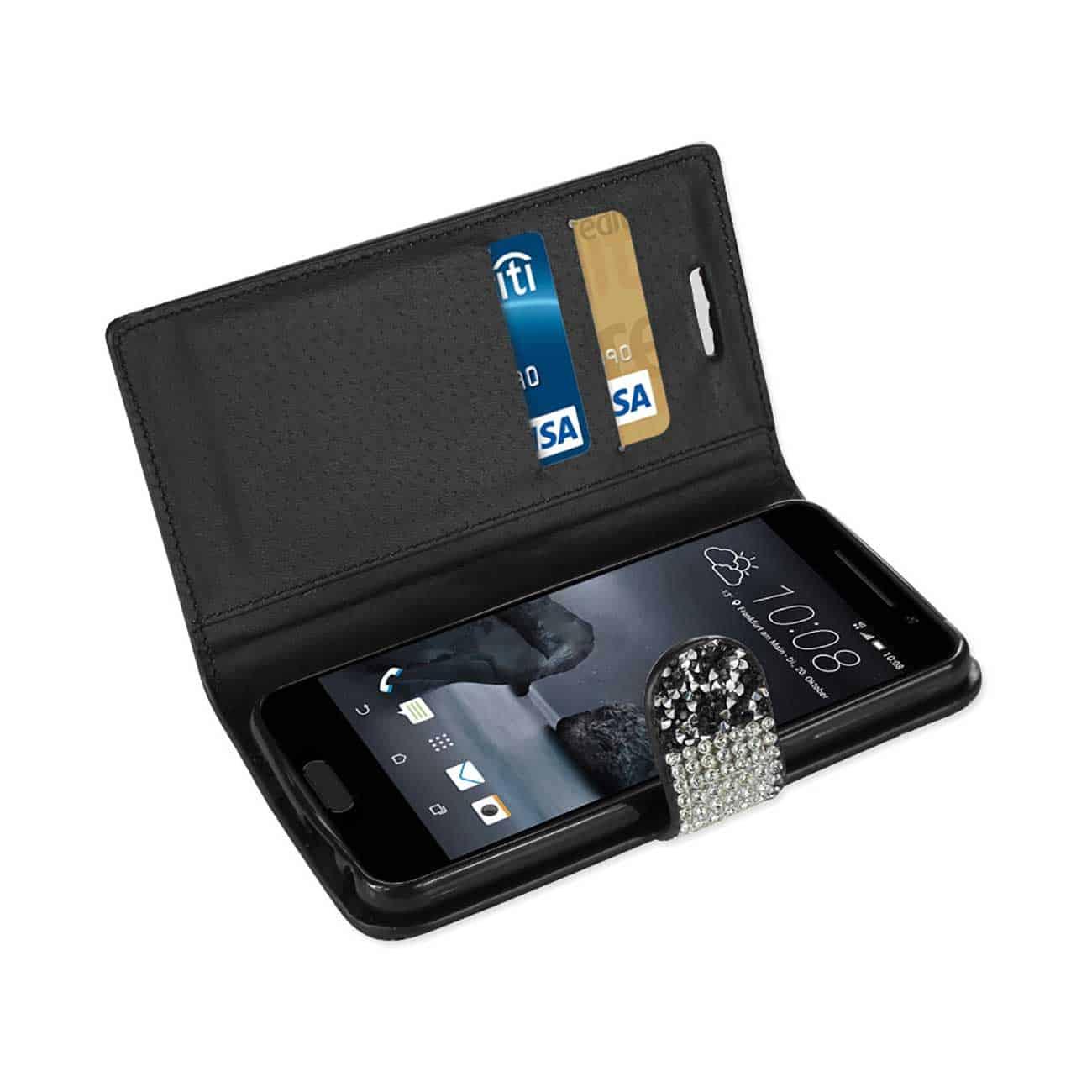HTC ONE A9 JEWELRY RHINESTONE WALLET CASE IN BLACK