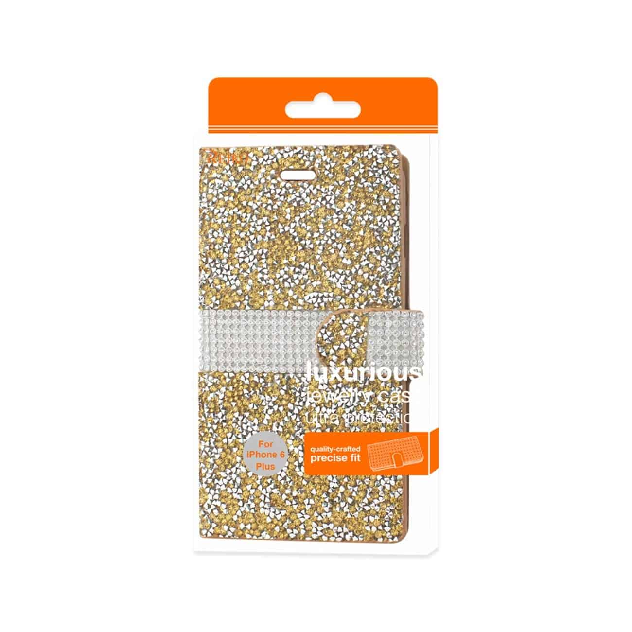 IPHONE 6 PLUS DIAMOND RHINESTONE WALLET CASE IN GOLD