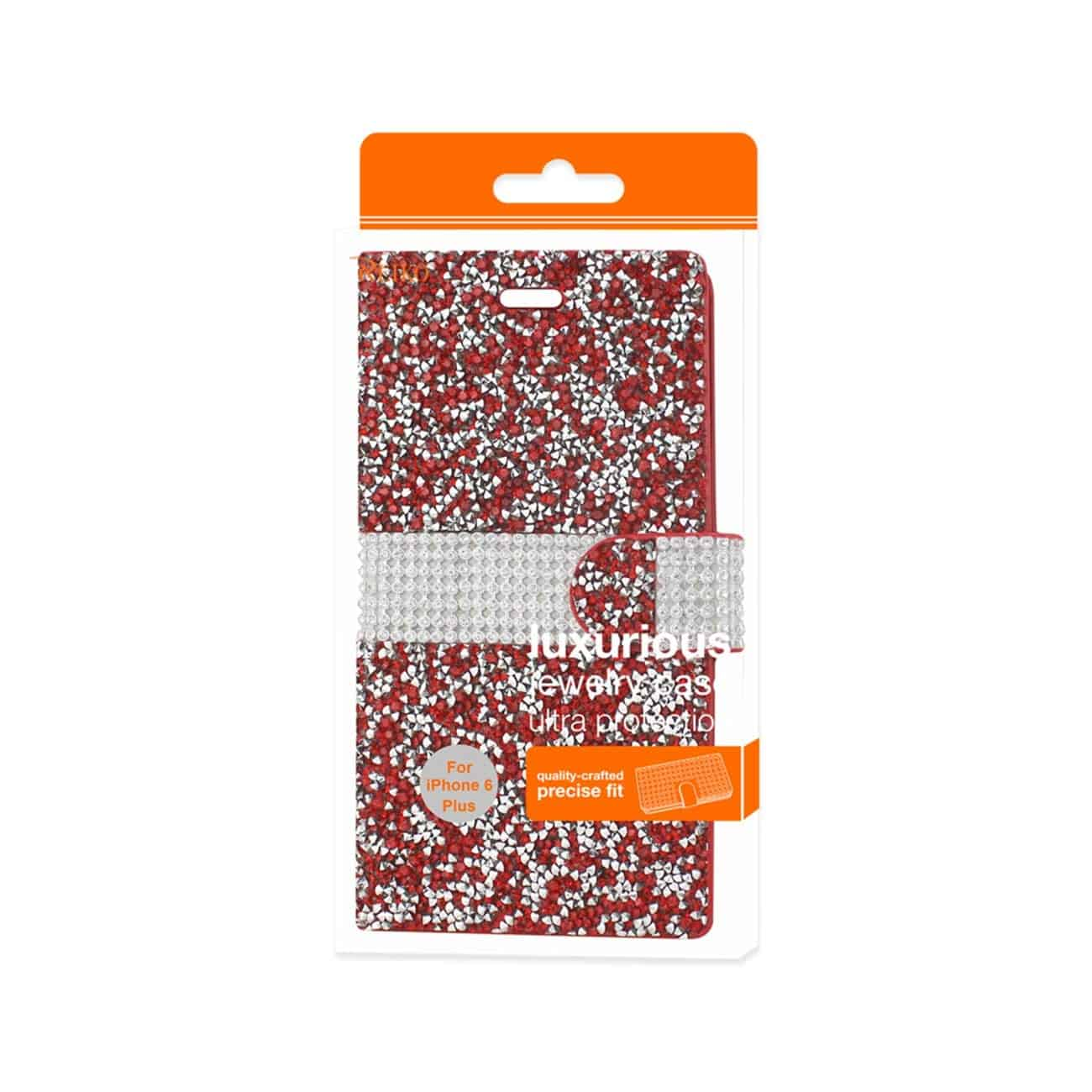 IPHONE 6 PLUS DIAMOND RHINESTONE WALLET CASE IN RED
