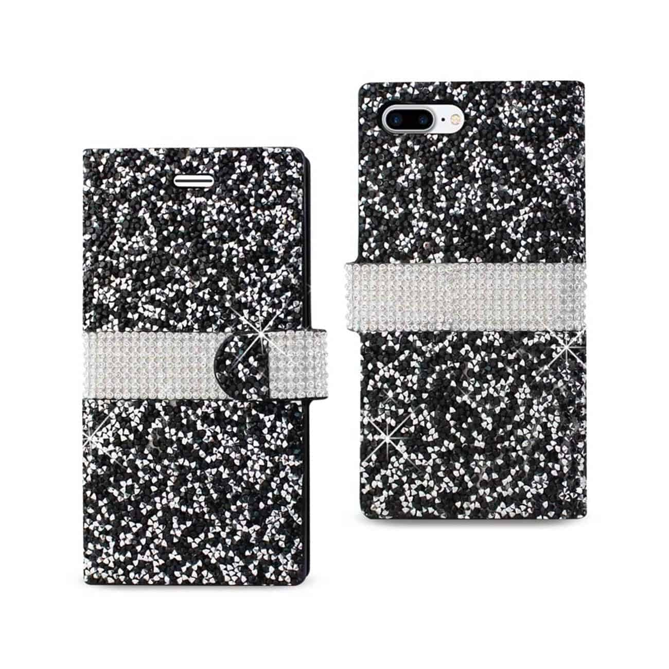 IPHONE 7 PLUS DIAMOND RHINESTONE WALLET CASE IN BLACK