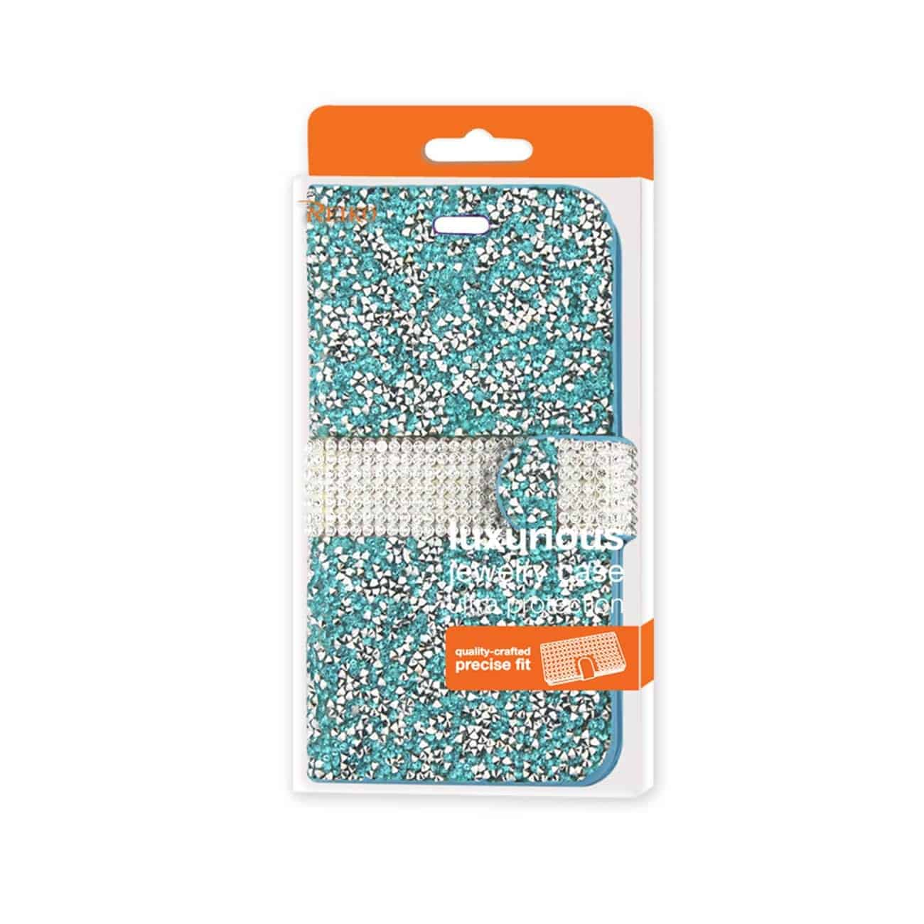 IPHONE 6 DIAMOND RHINESTONE WALLET CASE IN BLUE