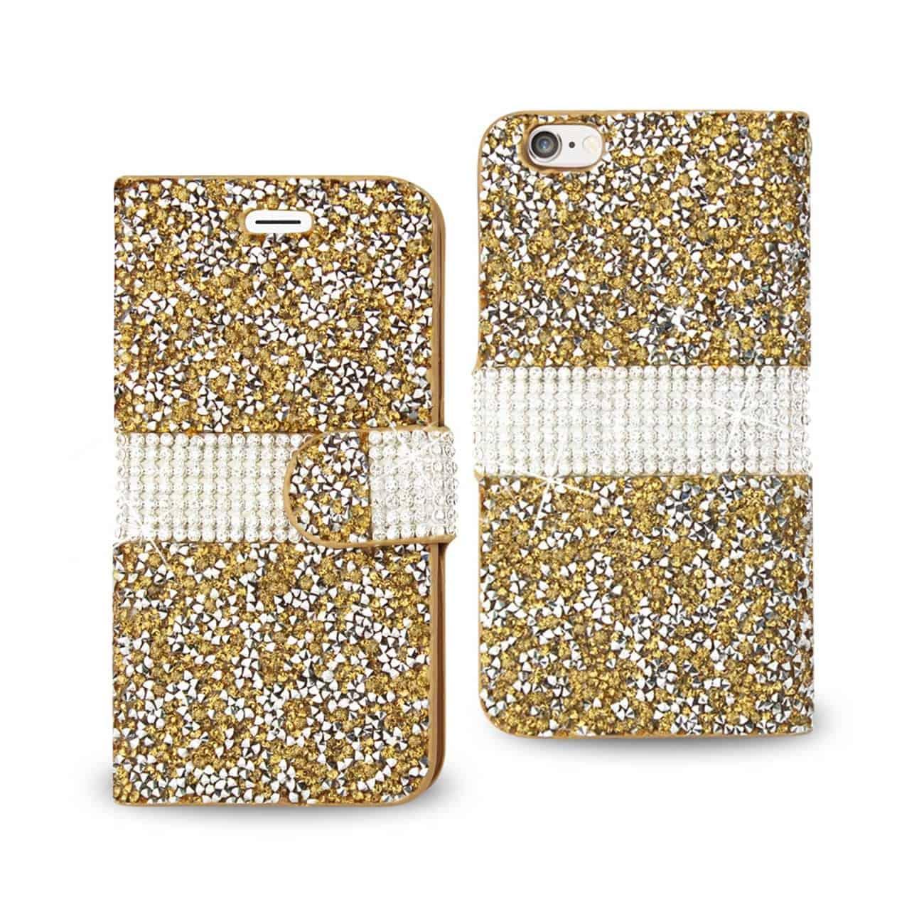 IPHONE 6 DIAMOND RHINESTONE WALLET CASE IN GOLD