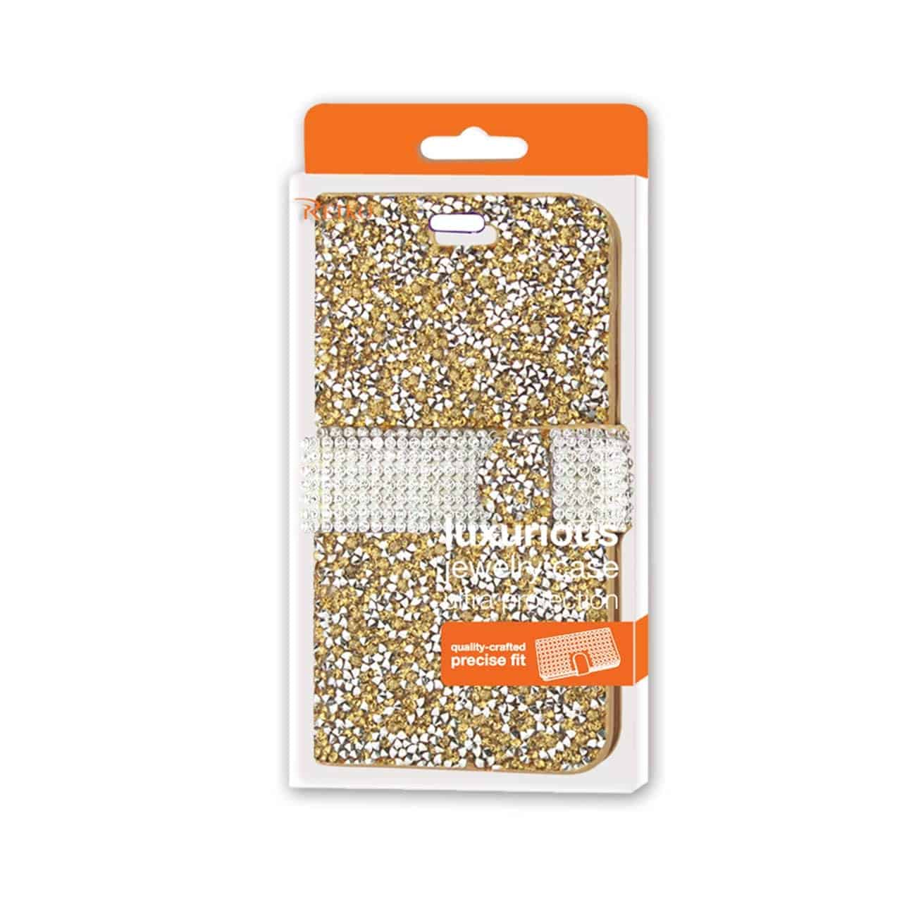 IPHONE 6 DIAMOND RHINESTONE WALLET CASE IN GOLD