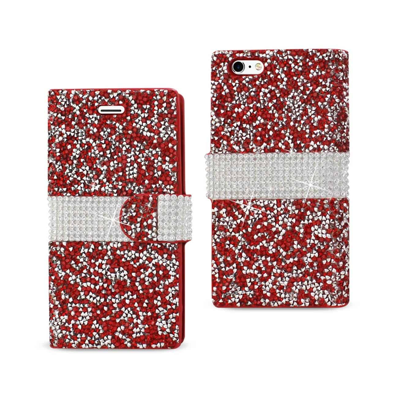 IPHONE 6 DIAMOND RHINESTONE WALLET CASE IN RED