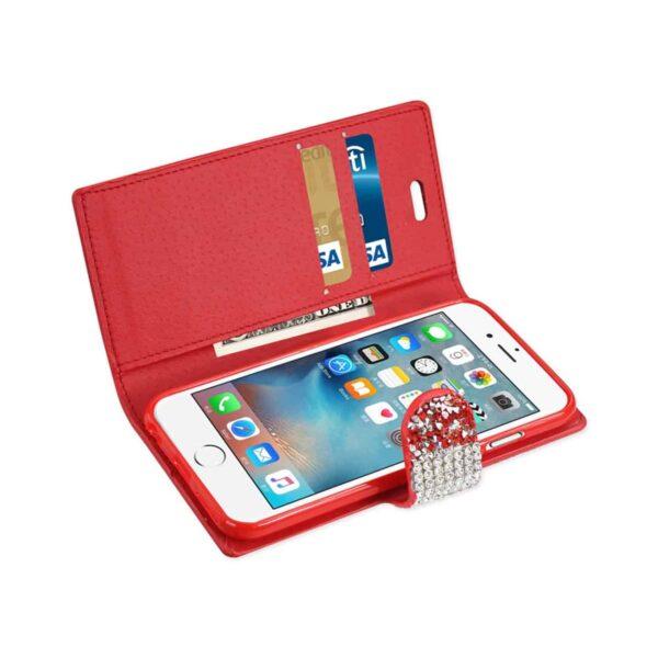 IPHONE 6 DIAMOND RHINESTONE WALLET CASE IN RED