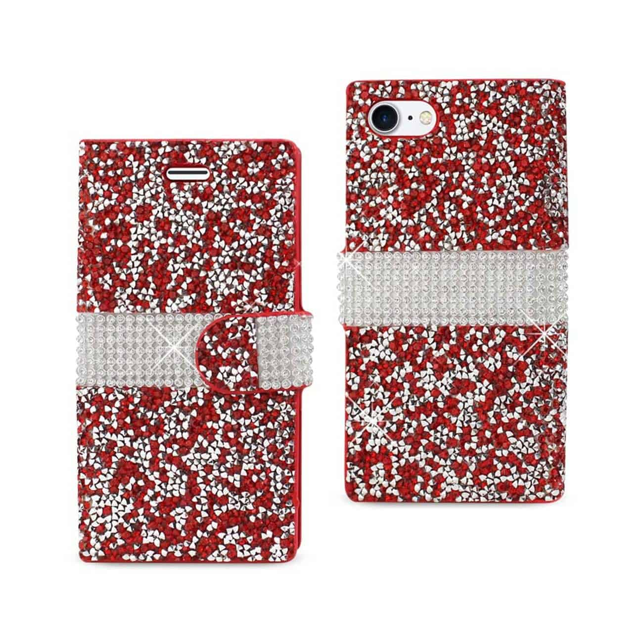 IPHONE 7 JEWELRY RHINESTONE WALLET CASE IN RED
