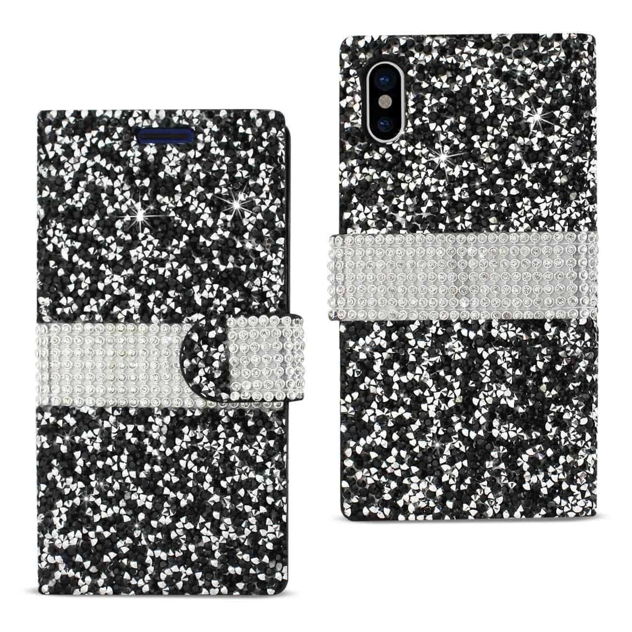 IPHONE X DIAMOND RHINESTONE WALLET CASE IN BLACK