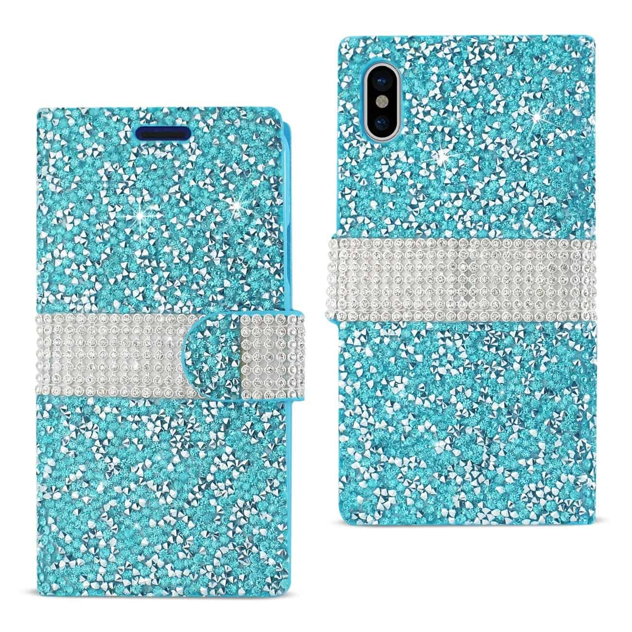 IPHONE X DIAMOND RHINESTONE WALLET CASE IN BLUE