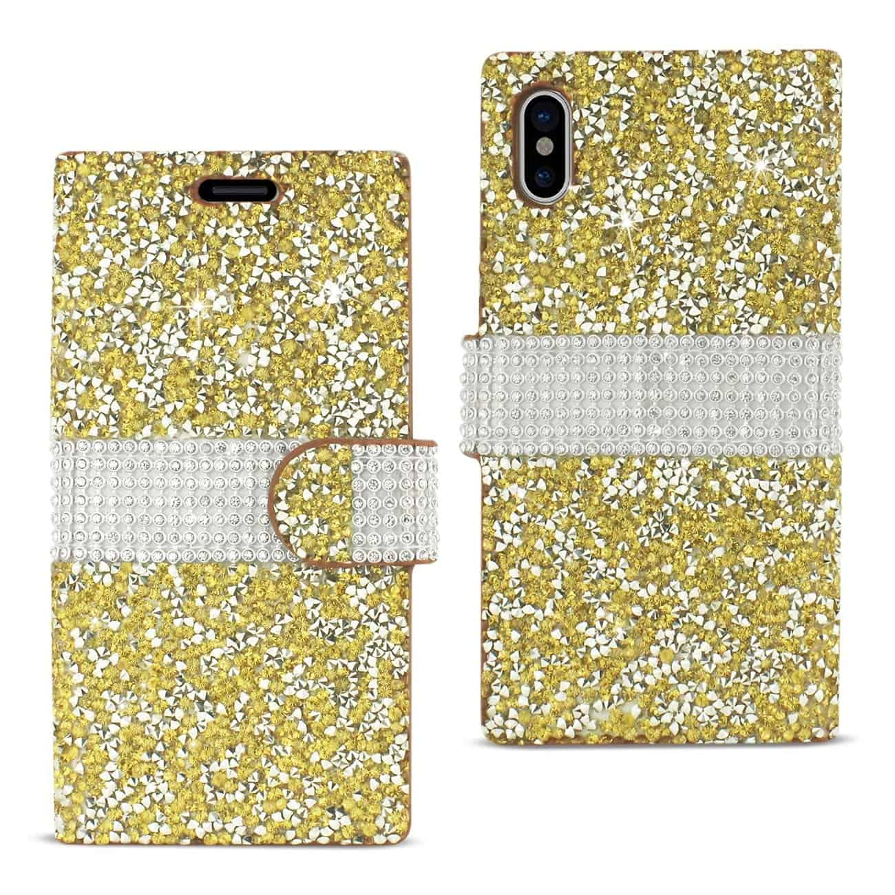 IPHONE X DIAMOND RHINESTONE WALLET CASE IN GOLD