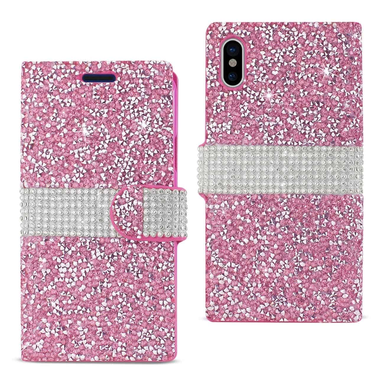 IPHONE X DIAMOND RHINESTONE WALLET CASE IN PINK