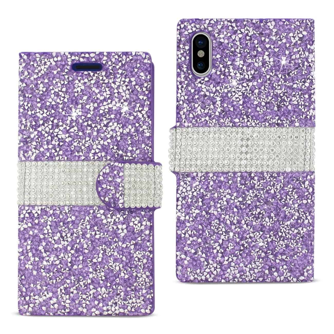 IPHONE X DIAMOND RHINESTONE WALLET CASE IN PURPLE