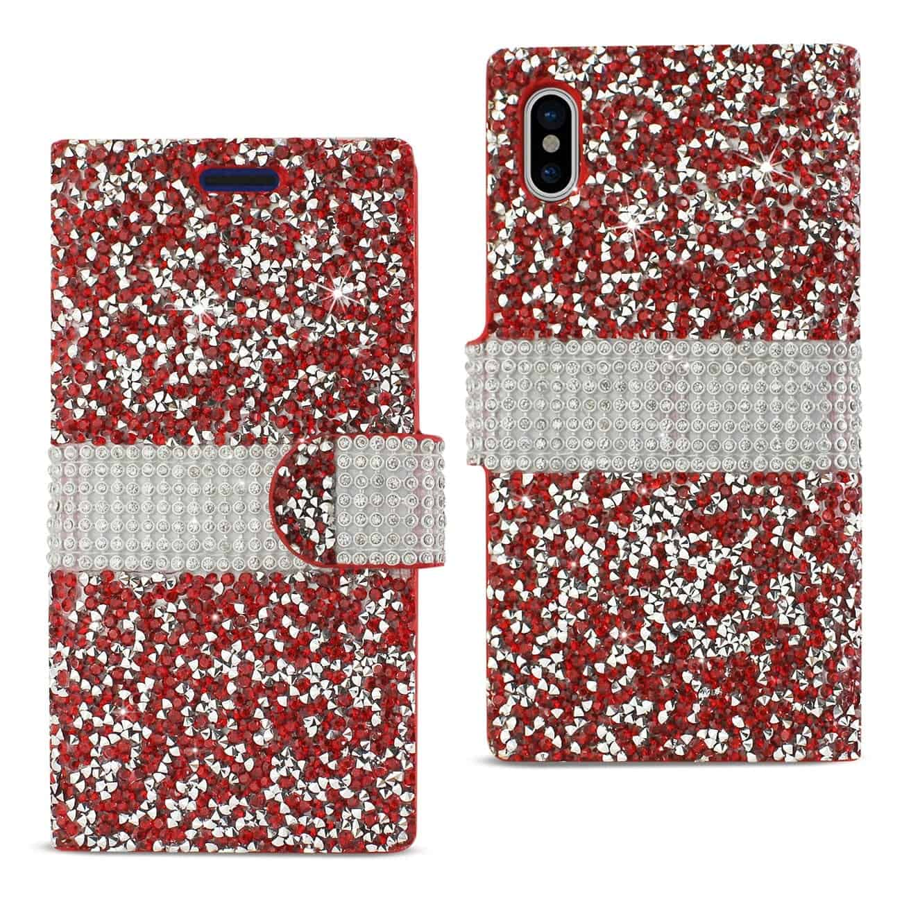 IPHONE X DIAMOND RHINESTONE WALLET CASE IN RED