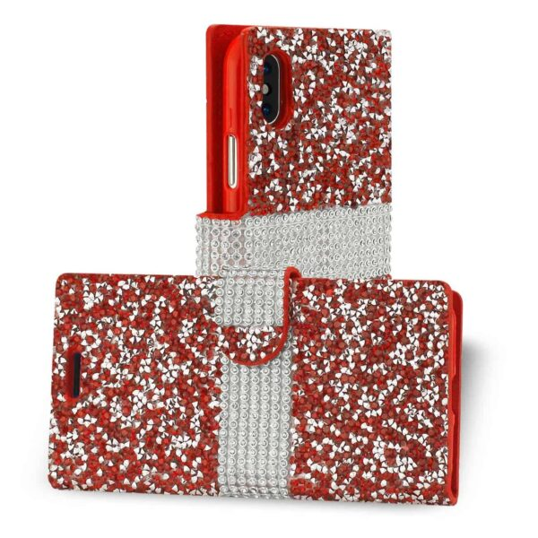 IPHONE X DIAMOND RHINESTONE WALLET CASE IN RED