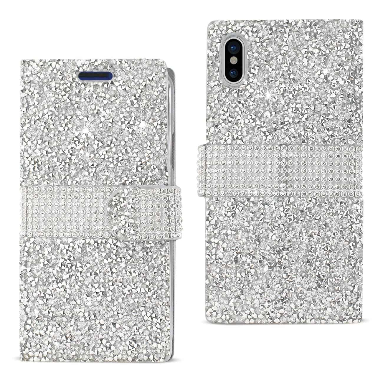 IPHONE X DIAMOND RHINESTONE WALLET CASE IN SILVER