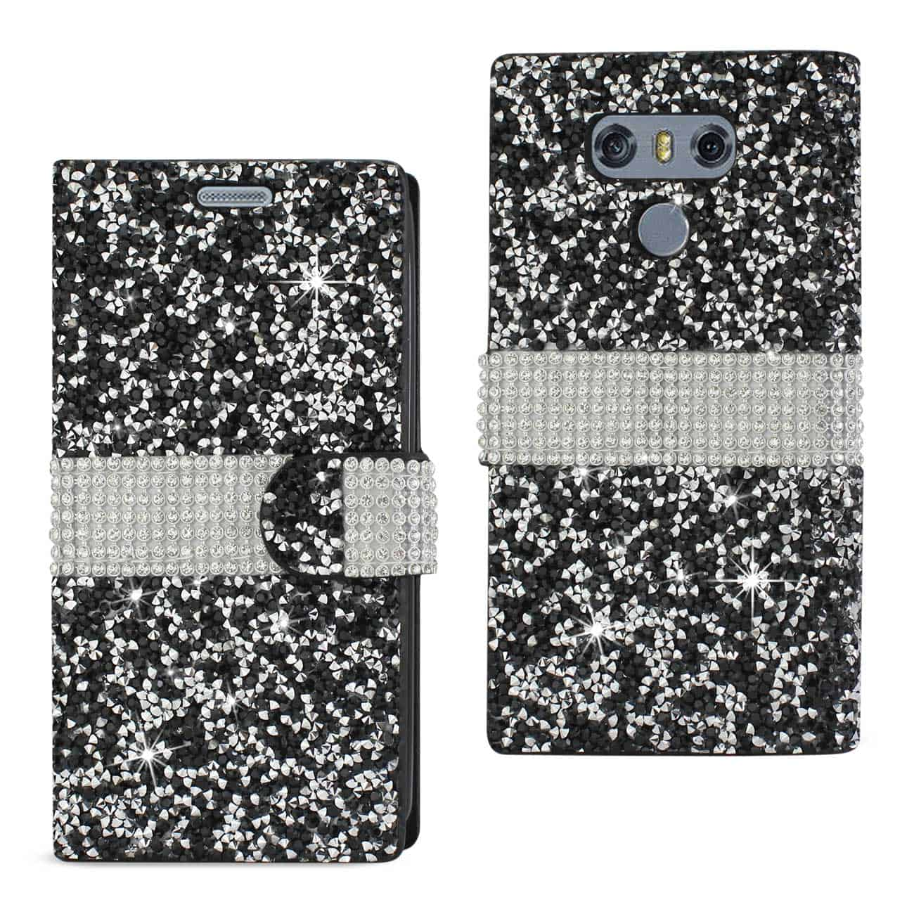 LG G6 DIAMOND RHINESTONE WALLET CASE IN BLACK