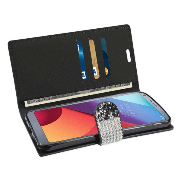 LG G6 DIAMOND RHINESTONE WALLET CASE IN BLACK