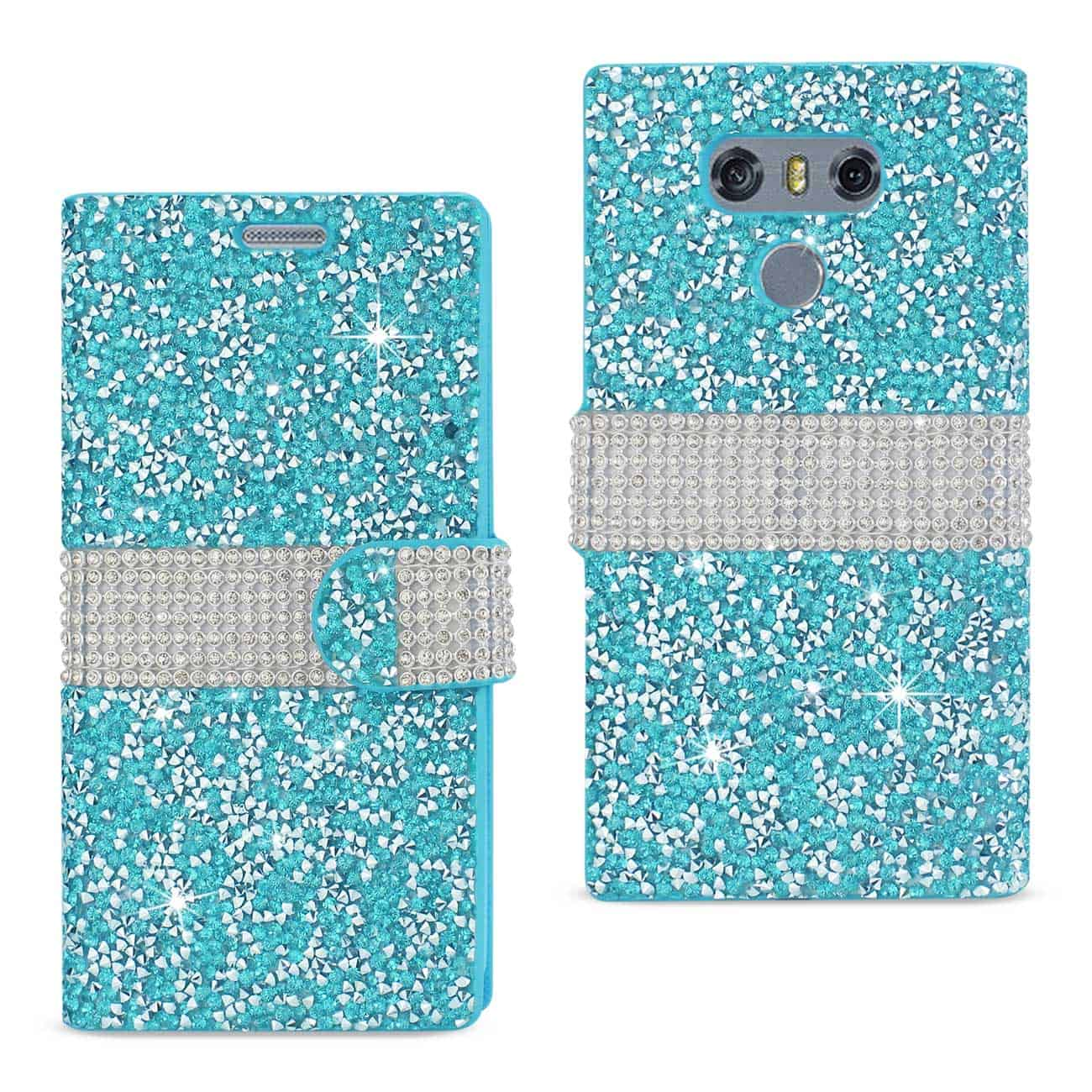 LG G6 DIAMOND RHINESTONE WALLET CASE IN BLUE