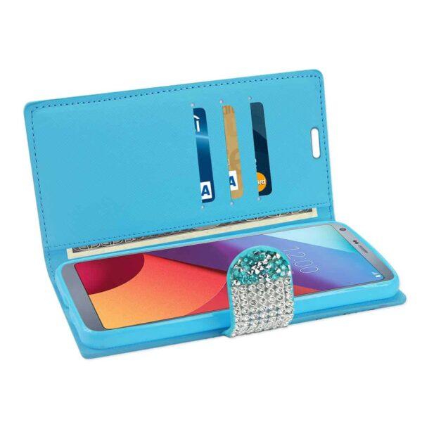 LG G6 DIAMOND RHINESTONE WALLET CASE IN BLUE