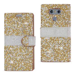 LG G6 DIAMOND RHINESTONE WALLET CASE IN GOLD