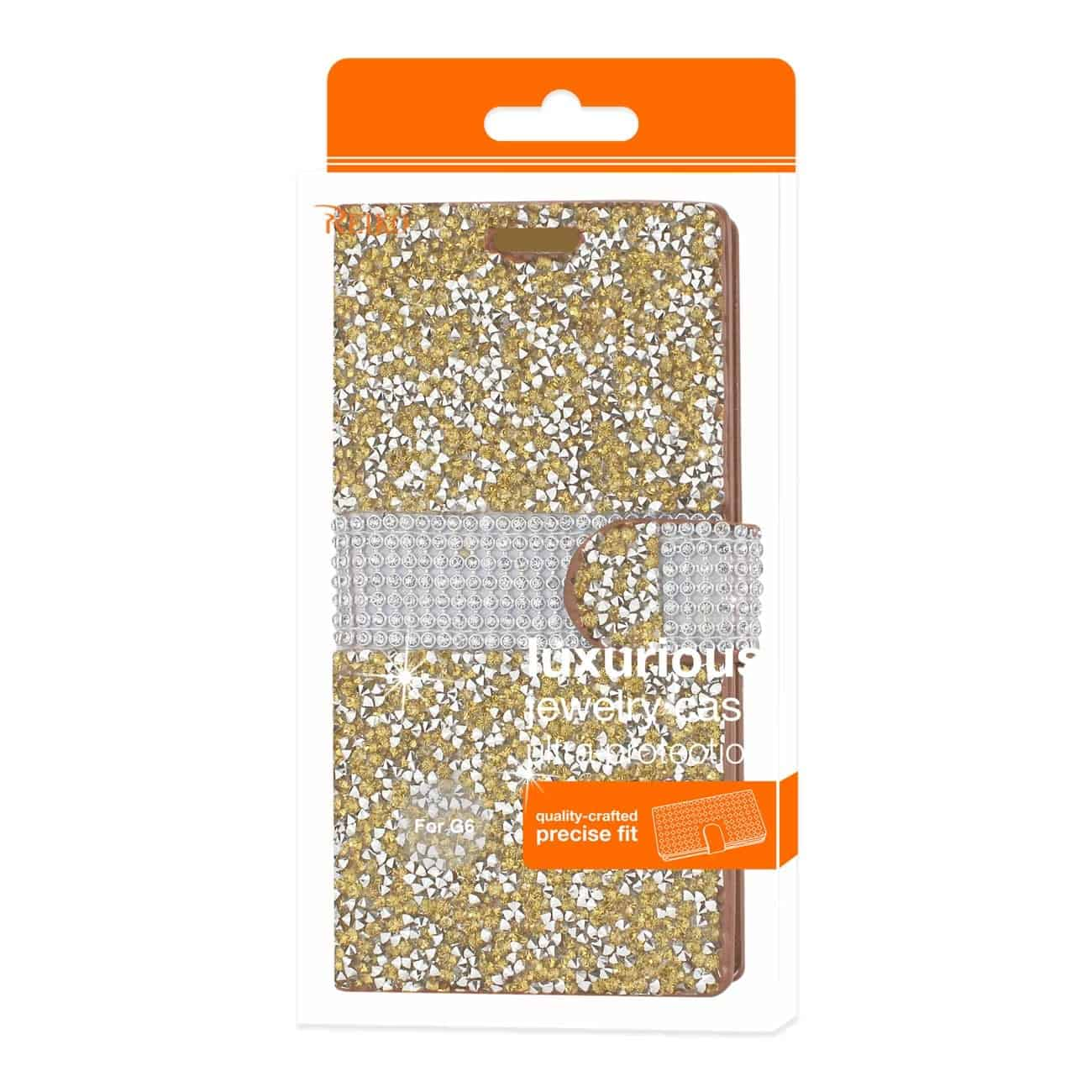 LG G6 DIAMOND RHINESTONE WALLET CASE IN GOLD