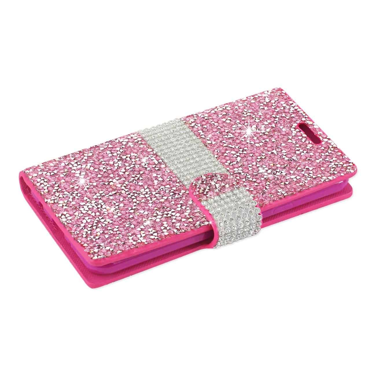 LG G6 DIAMOND RHINESTONE WALLET CASE IN PINK