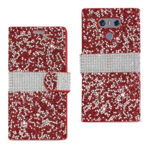 LG G6 DIAMOND RHINESTONE WALLET CASE IN RED