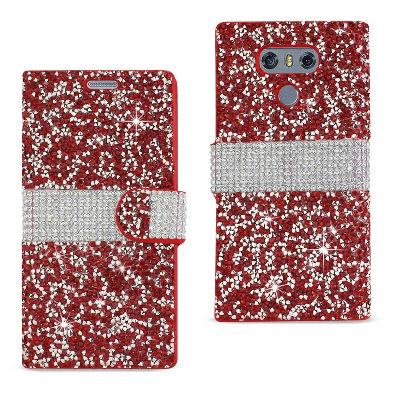 LG G6 DIAMOND RHINESTONE WALLET CASE IN RED
