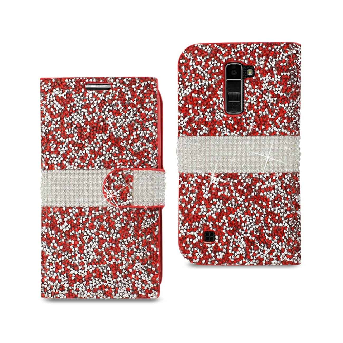 LG K10 JEWELRY RHINESTONE WALLET CASE IN RED