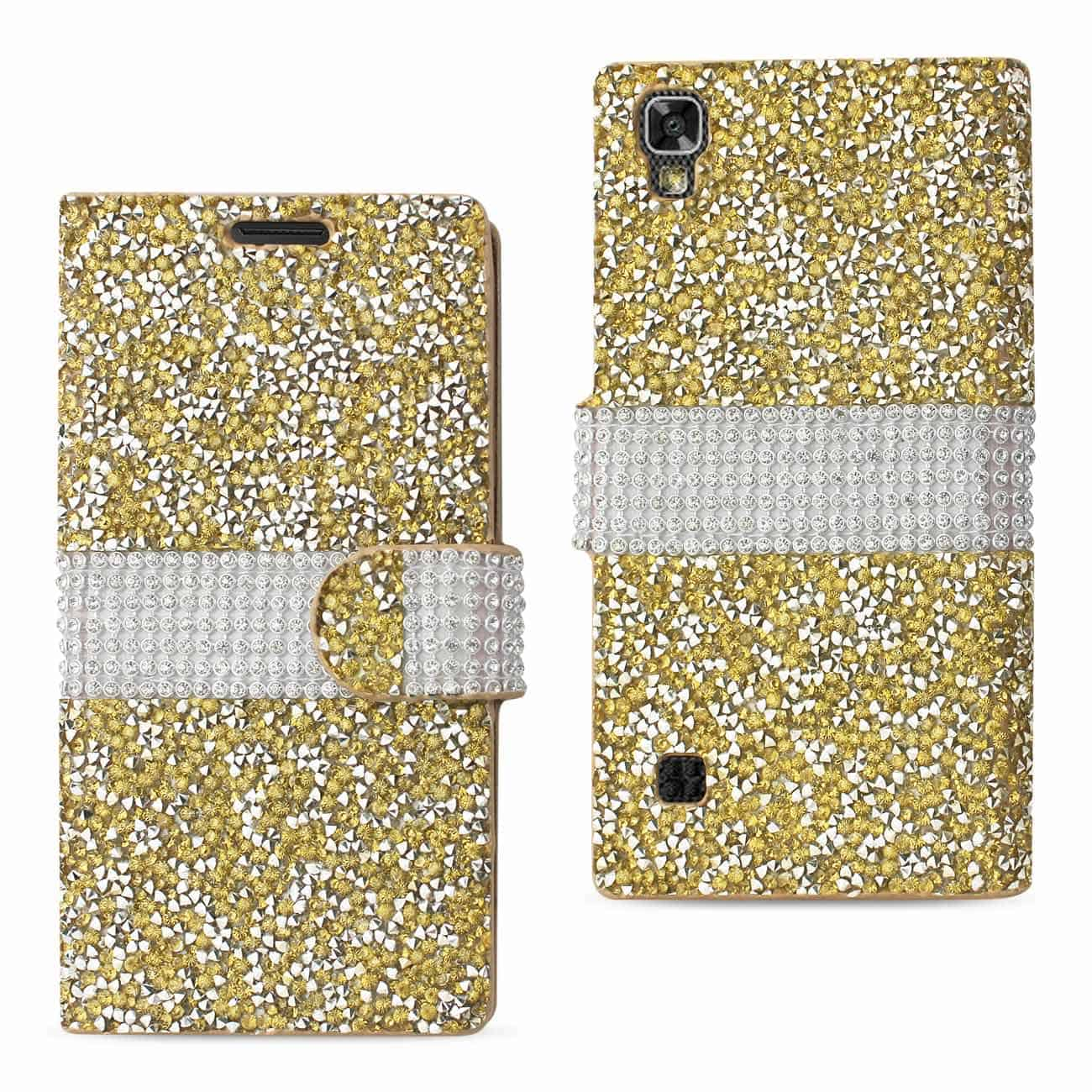 LG X POWER/ K6 DIAMOND RHINESTONE WALLET CASE IN GOLD