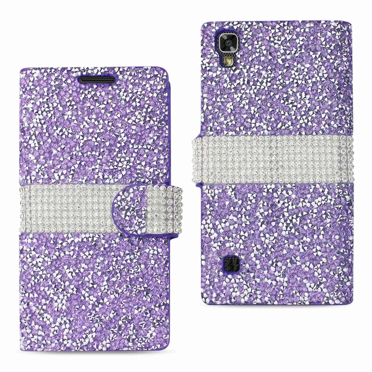 LG X POWER/ K6 DIAMOND RHINESTONE WALLET CASE IN PURPLE