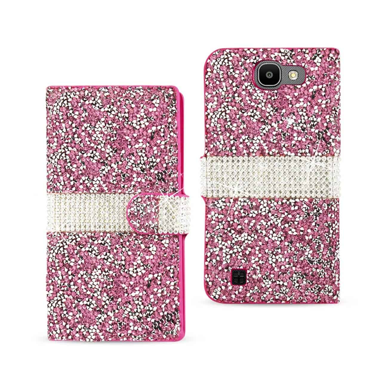 LG SPREE JEWELRY RHINESTONE WALLET CASE IN PINK