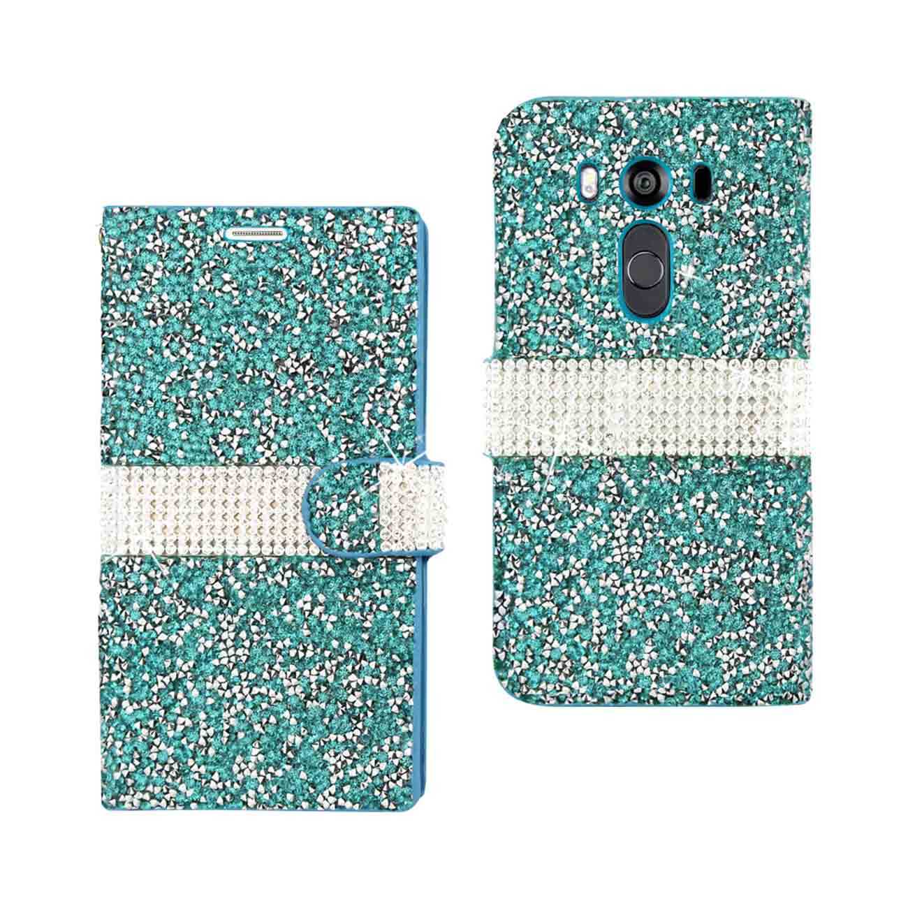 LG V10 JEWELRY RHINESTONE WALLET CASE IN BLUE