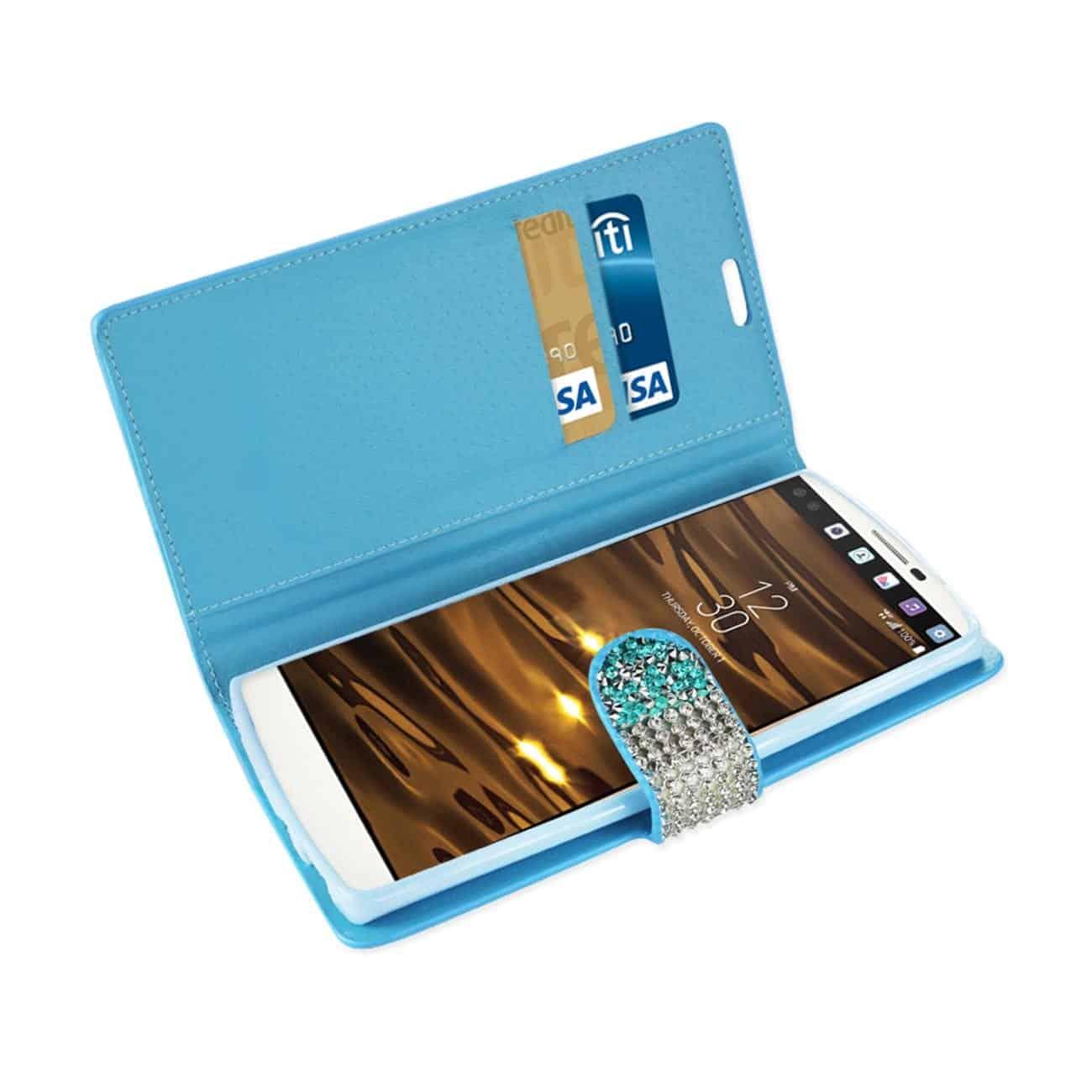 LG V10 JEWELRY RHINESTONE WALLET CASE IN BLUE