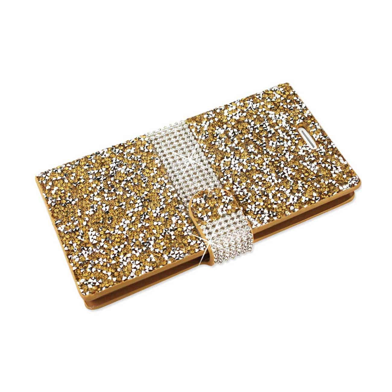 LG V10 JEWELRY RHINESTONE WALLET CASE IN GOLD
