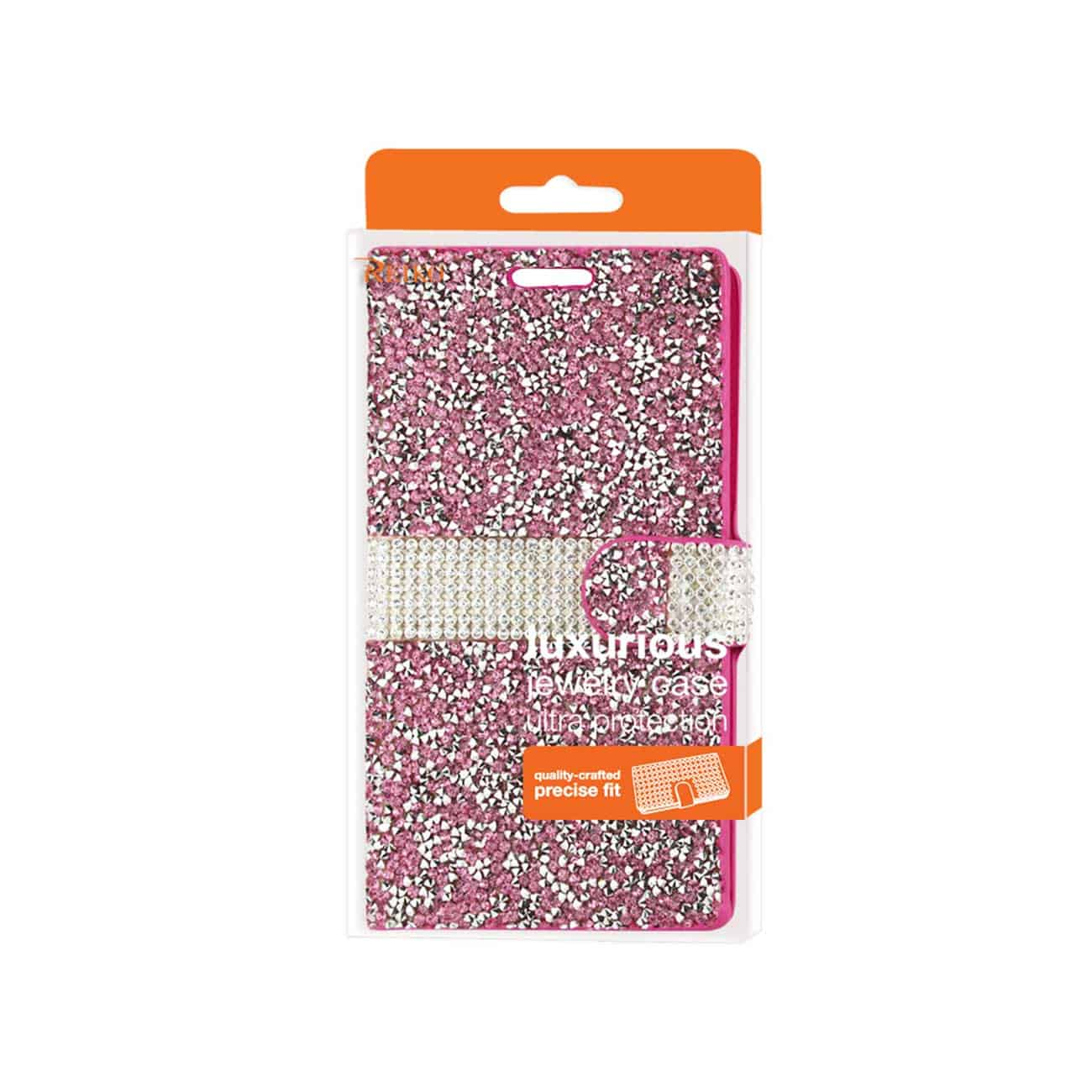 LG V10 JEWELRY RHINESTONE WALLET CASE IN PINK