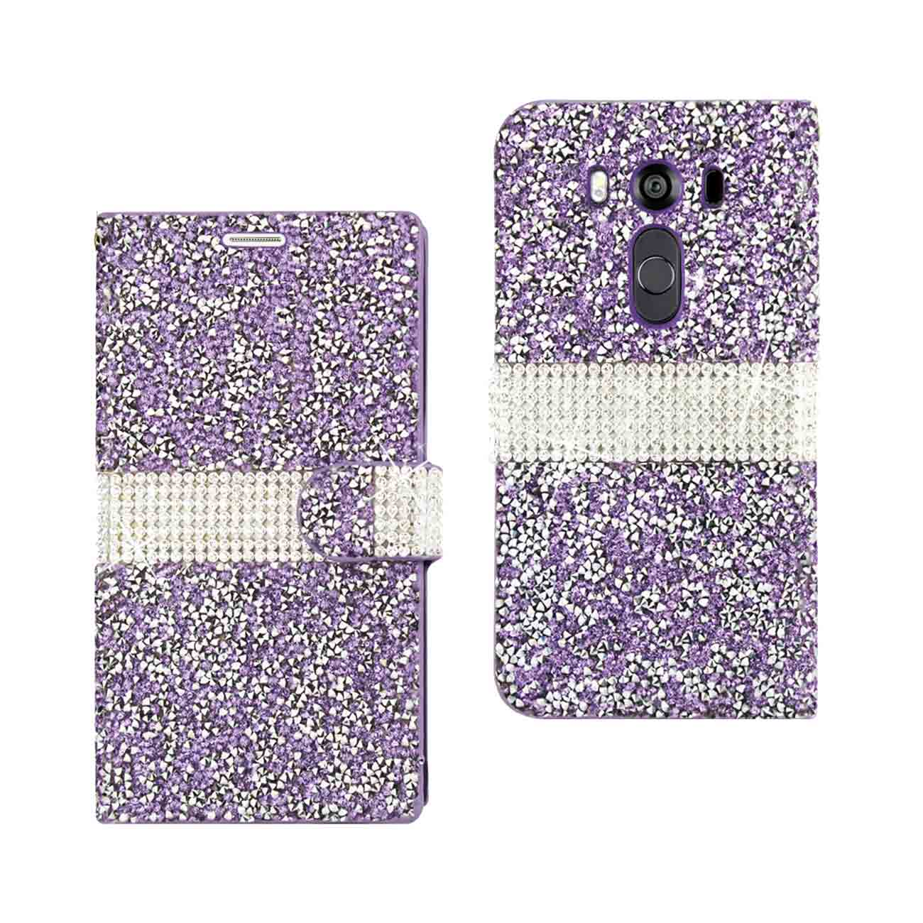 LG V10 JEWELRY RHINESTONE WALLET CASE IN PURPLE