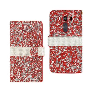 LG V10 JEWELRY RHINESTONE WALLET CASE IN RED