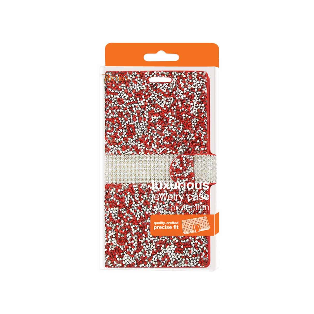 LG V10 JEWELRY RHINESTONE WALLET CASE IN RED