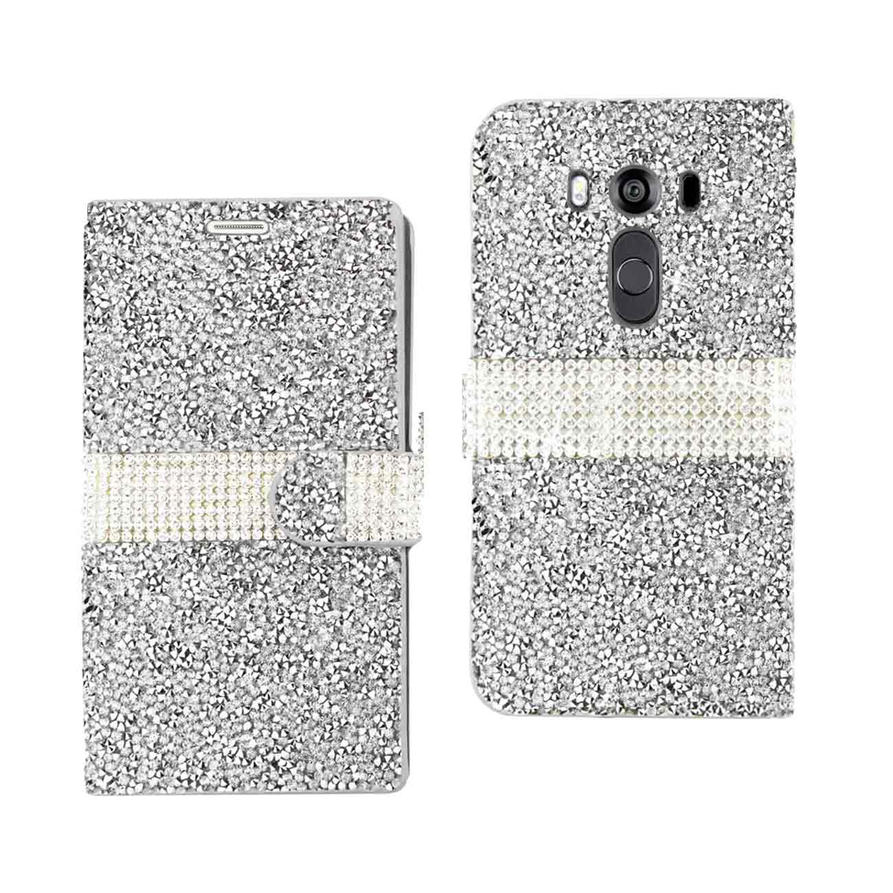 LG V10 JEWELRY RHINESTONE WALLET CASE IN SILVER