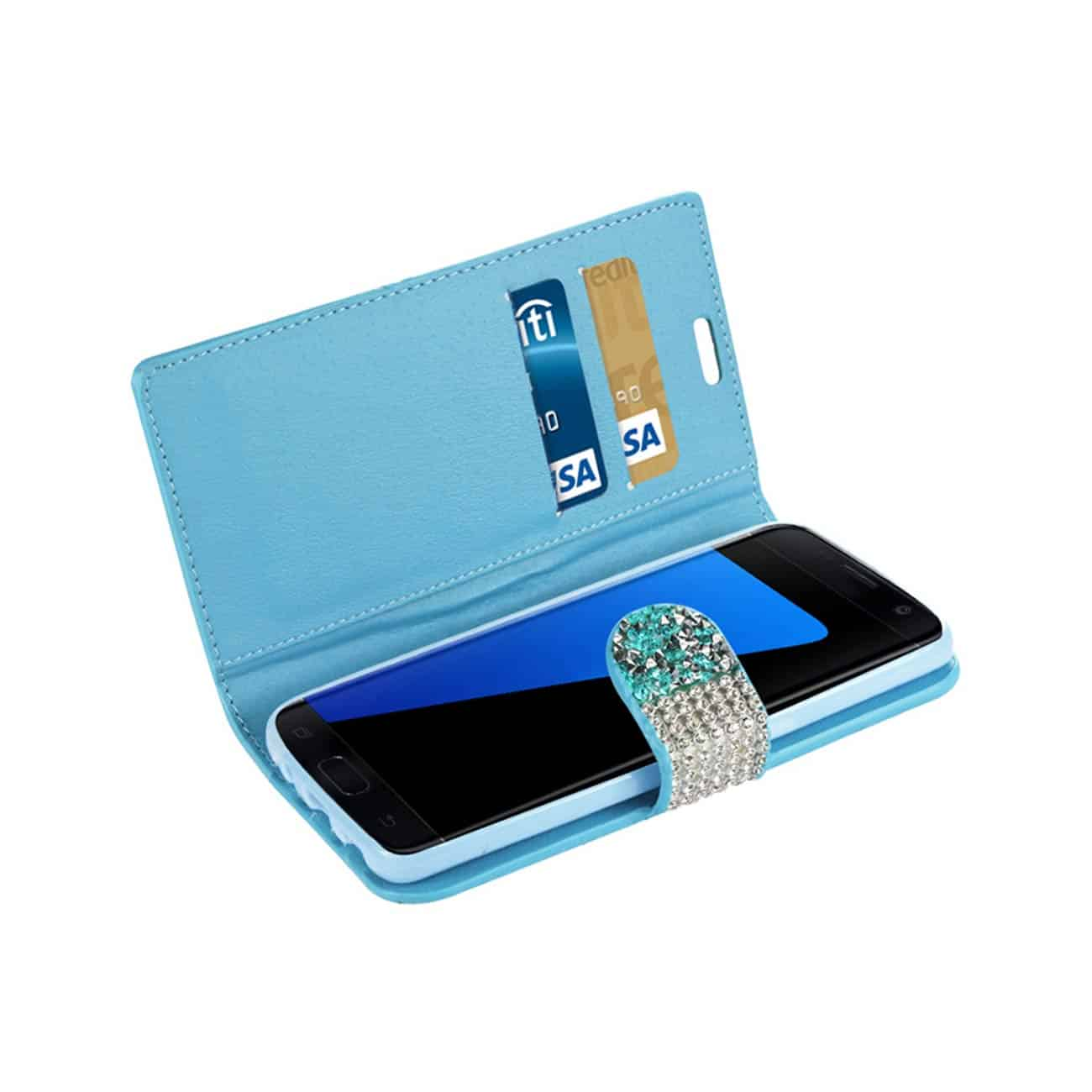 SAMSUNG GALAXY S7 EDGE JEWELRY RHINESTONE WALLET CASE IN BLUE