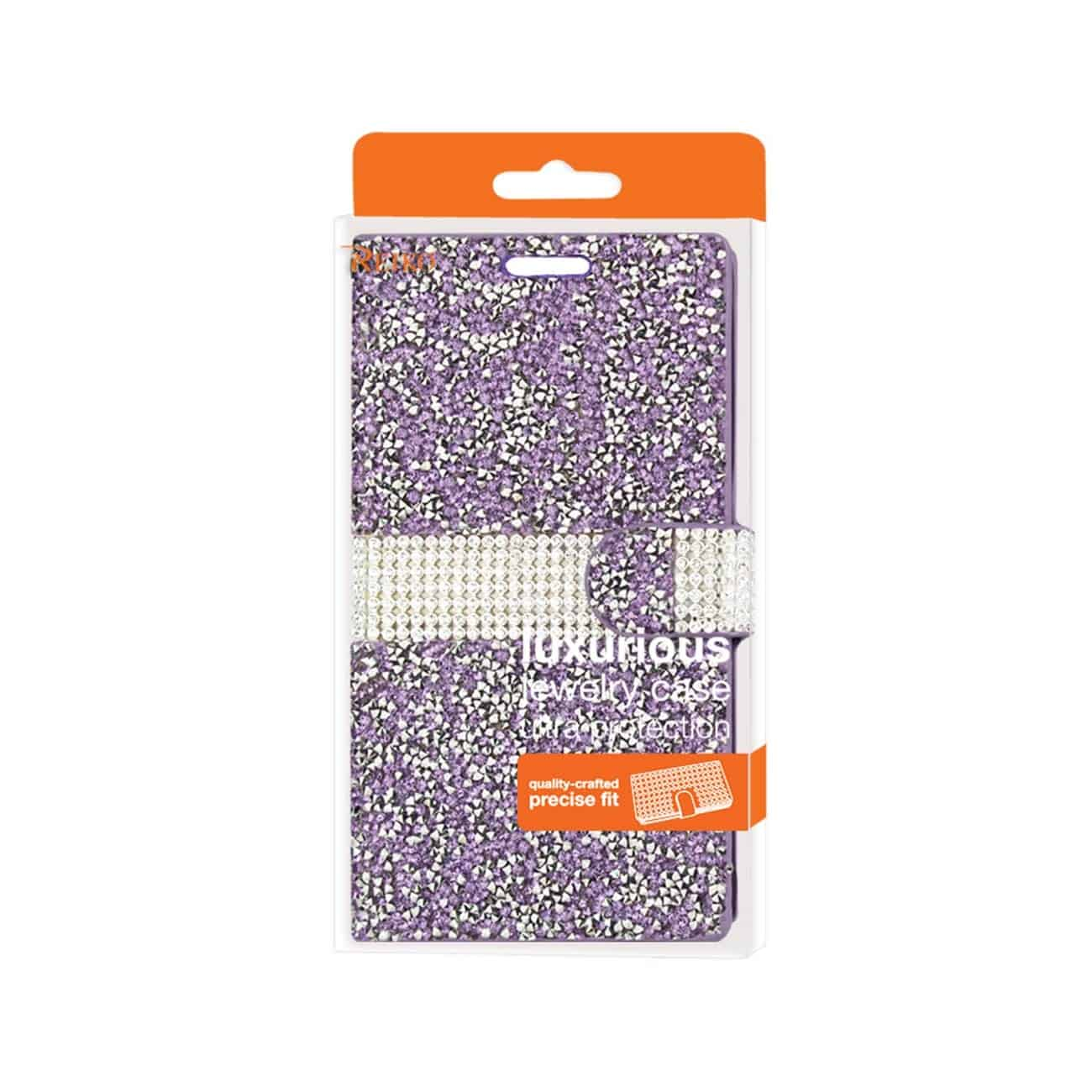 SAMSUNG GALAXY S7 EDGE DIAMOND RHINESTONE WALLET CASE IN PURPLE