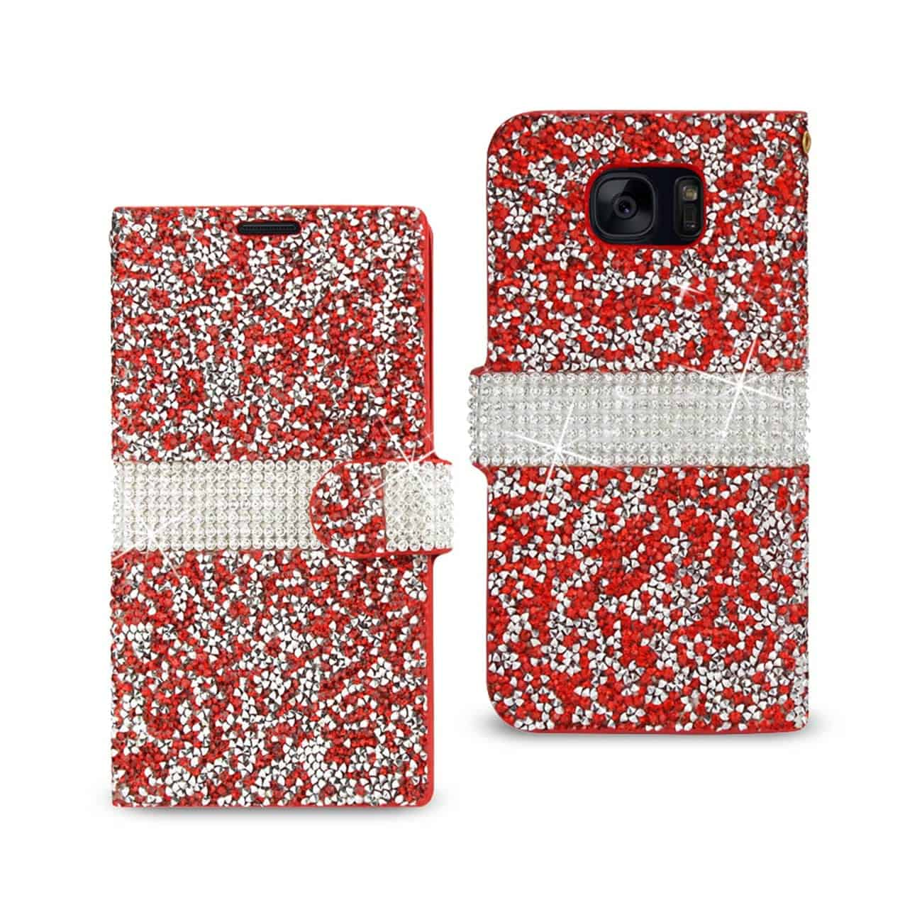 SAMSUNG GALAXY S7 EDGE JEWELRY RHINESTONE WALLET CASE IN RED