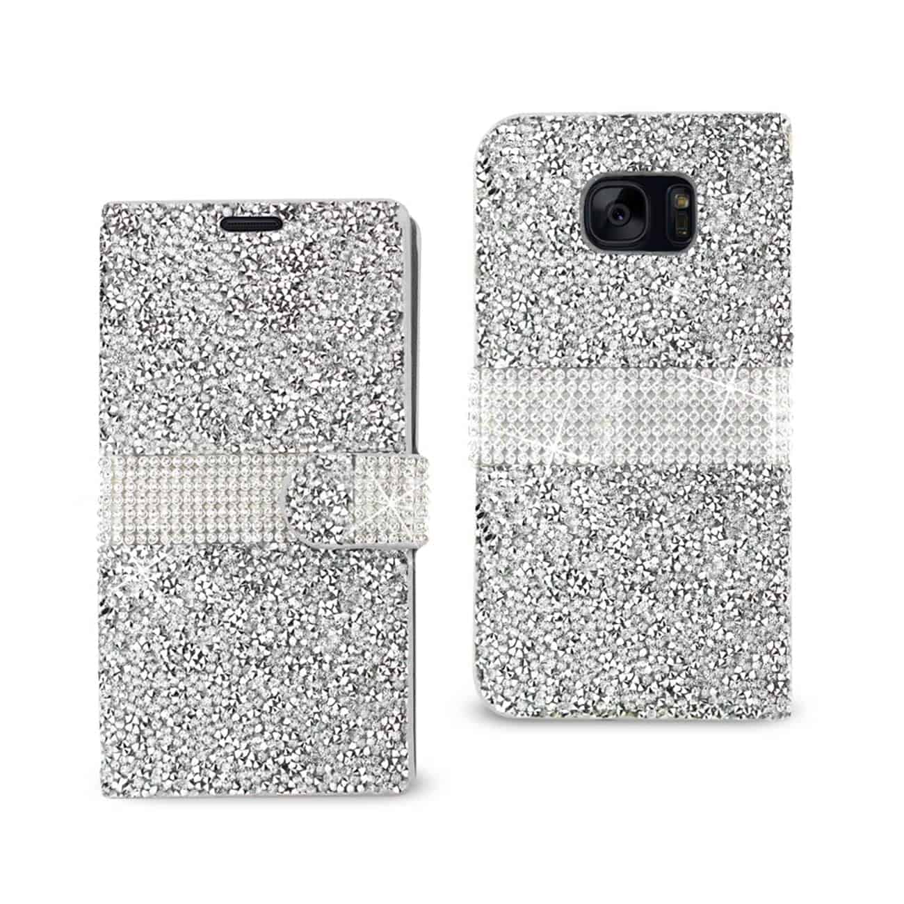 SAMSUNG GALAXY S7 EDGE JEWELRY RHINESTONE WALLET CASE IN SILVER