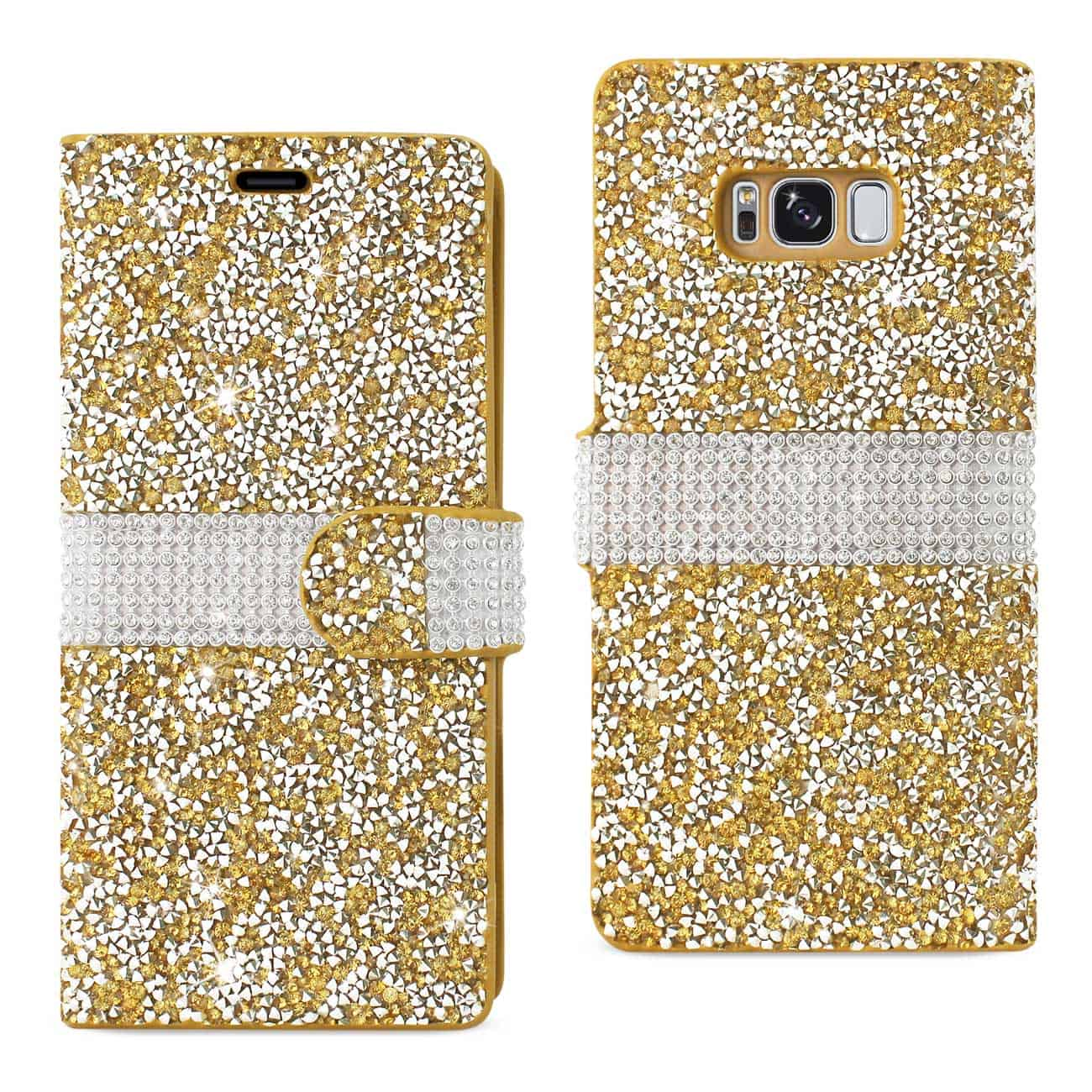 SAMSUNG GALAXY S8 EDGE/ S8 PLUS DIAMOND RHINESTONE WALLET CASE IN GOLD