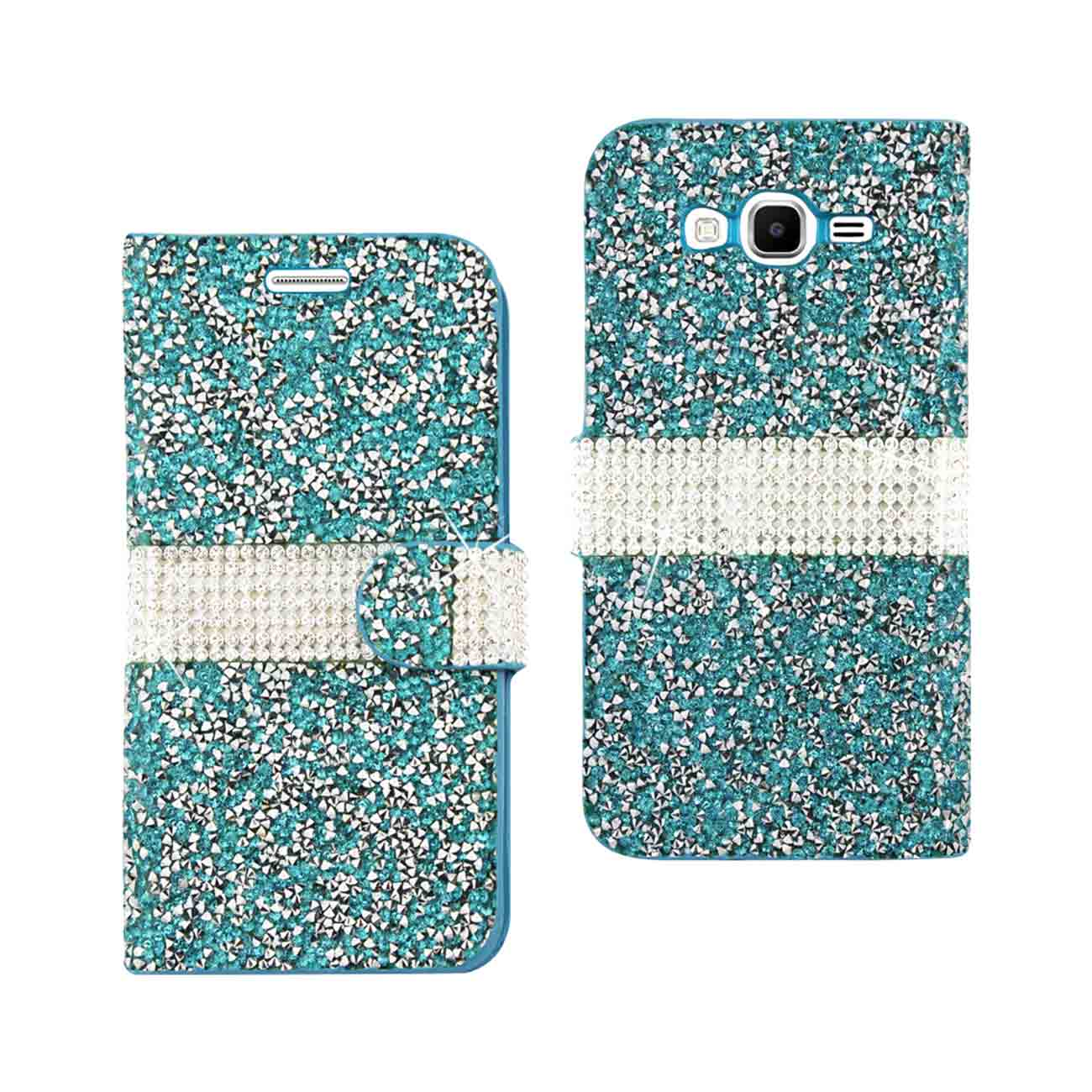 SAMSUNG GALAXY GRAND PRIME JEWELRY RHINESTONE WALLET CASE IN BLUE