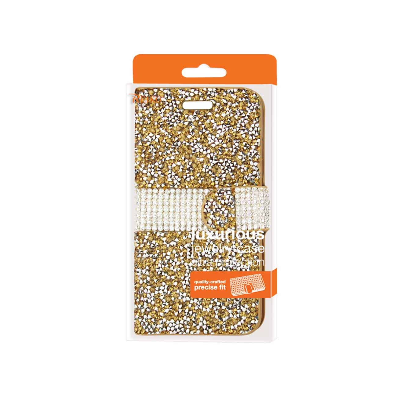 SAMSUNG GALAXY GRAND PRIME JEWELRY RHINESTONE WALLET CASE IN GOLD