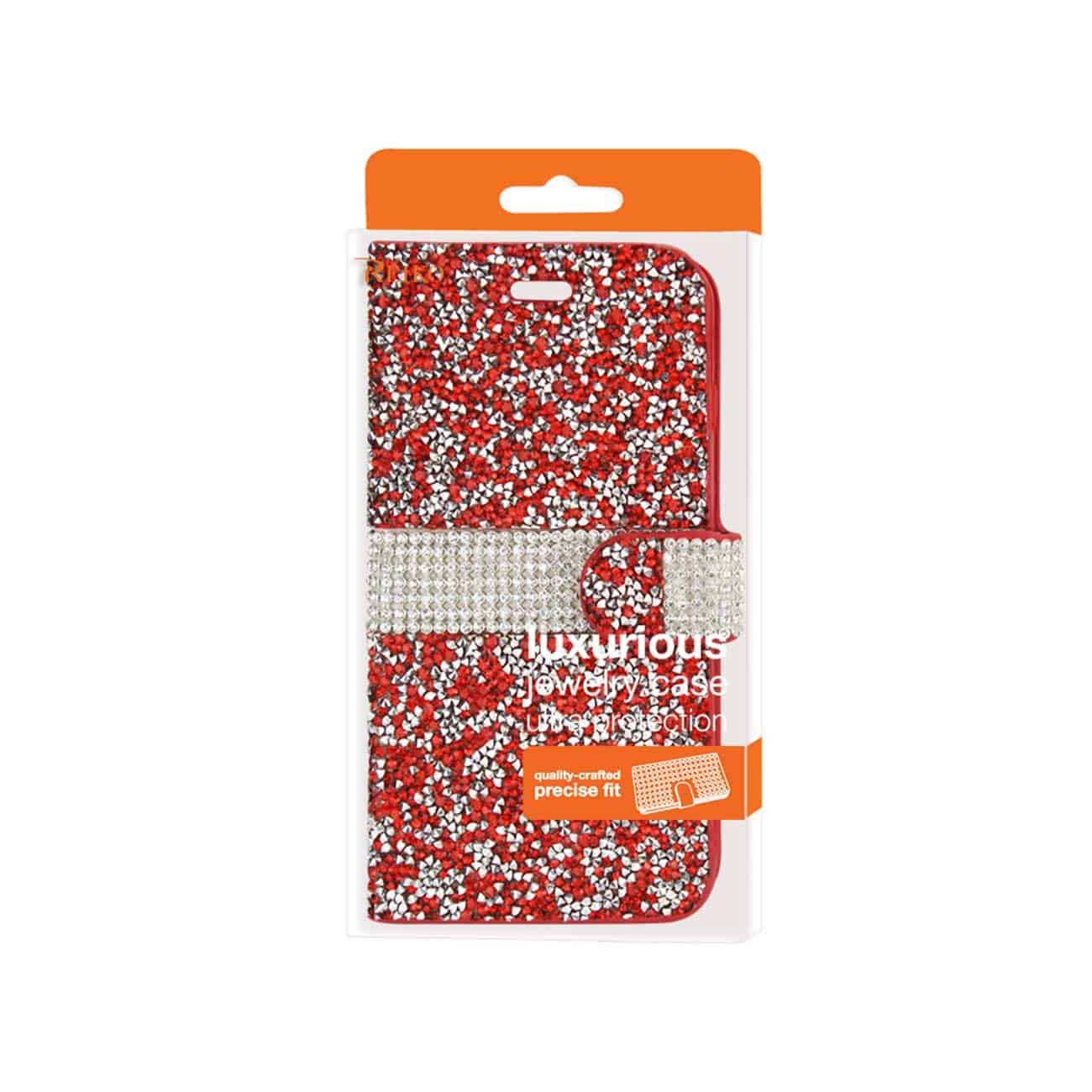 SAMSUNG GALAXY GRAND PRIME JEWELRY RHINESTONE WALLET CASE IN RED