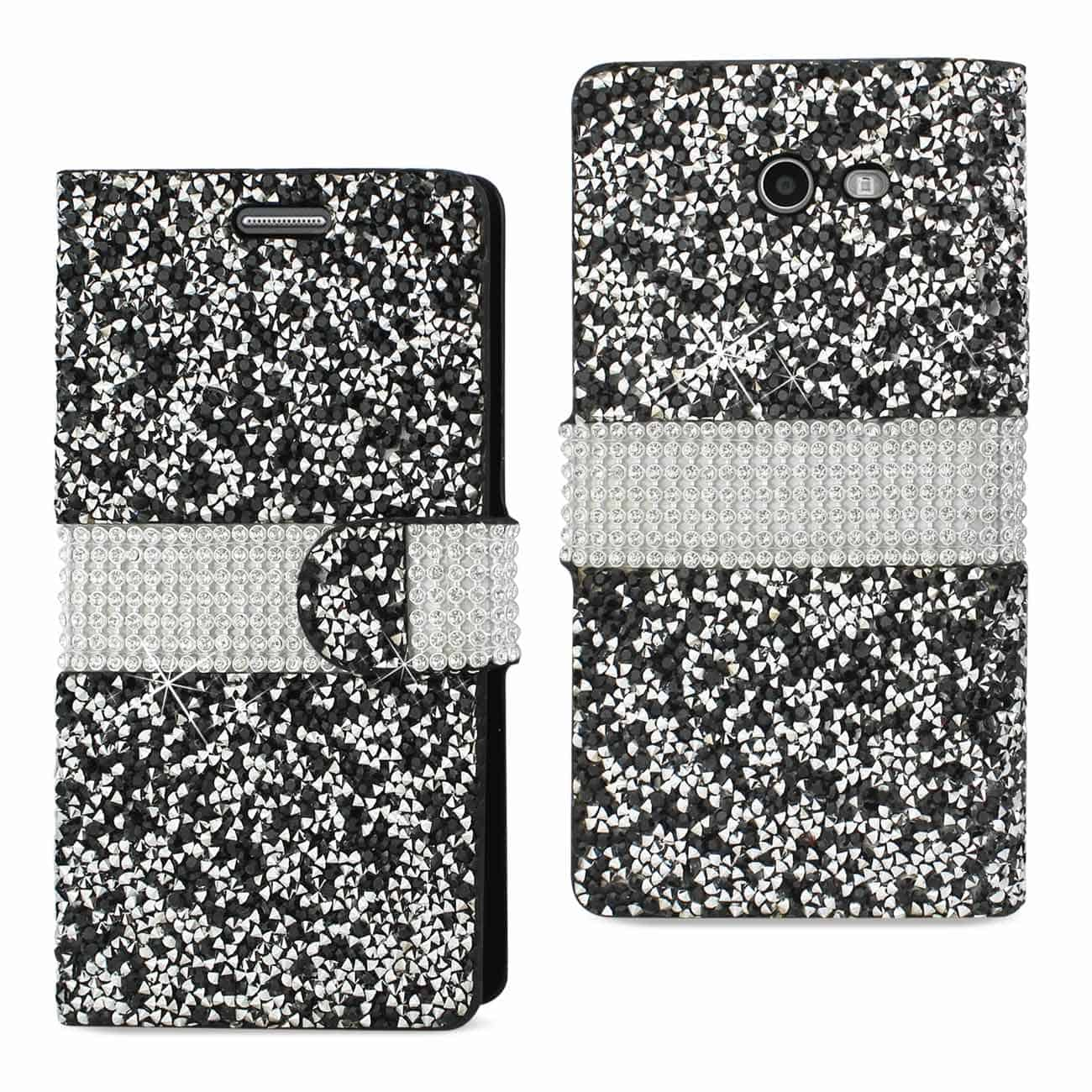 SAMSUNG GALAXY J3 EMERGE DIAMOND RHINESTONE WALLET CASE IN BLACK